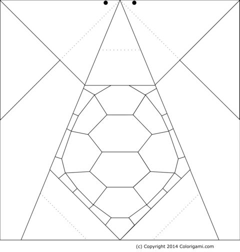 Origami turtle model